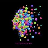 Sinnesrörelsebegrepp, fullinghuvud med kulöra rundor, euforiidé, stock illustrationer