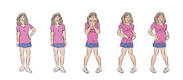 Sinnesrörelser av en ung gravid kvinna Arkivfoto