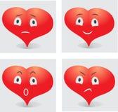 Sinnesrörelser av hjärtasmileyen Arkivbilder