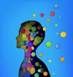 Sinnesrörelser begrepp, pojkehuvud som fyller med kulöra rundor, barndombegrepp, inre lycka, royaltyfri illustrationer