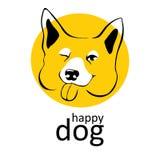 Sinnesrörelser för blinkningar för hundlogo lyckliga le skämtsamma Dragen stil för hundtecken hand, klotterillustrationer För kli vektor illustrationer