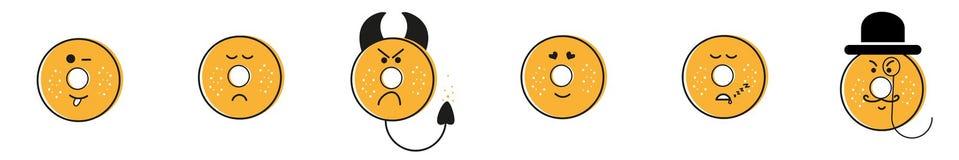 Sinnesrörelser för donuts för trycksvartguling royaltyfri illustrationer