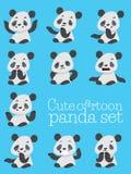 Sinnesrörelser för gullig panda för tecknad film olika Royaltyfri Foto
