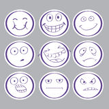 Sinnesrörelser hand-drog avatars Royaltyfri Foto