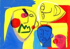 sinnesrörelser Social uttrycksfull begreppsmässig illustration för mänskliga framsidor stock illustrationer