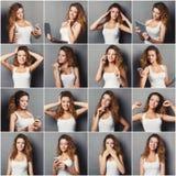 Sinnesrörelseuppsättning av den unga kvinnan på studiobakgrund royaltyfria bilder