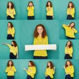Sinnesrörelseuppsättning av den unga kvinnan på studiobakgrund royaltyfri foto