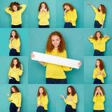 Sinnesrörelseuppsättning av den unga kvinnan på studiobakgrund royaltyfria foton