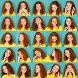 Sinnesrörelseuppsättning av den unga kvinnan på studiobakgrund royaltyfri fotografi