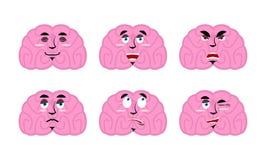 Sinnesrörelsehjärna Ställ in emojiavatarhjärnor Bra och ondskamening dis Arkivbild
