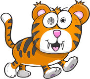 Sinnessjuka galna Tiger Vector Royaltyfri Bild