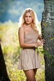 Sinnliche blonde Frau auf Feld im reizvollen kurzen Kleid Stockfotografie