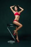 Sinnliche Brunettefrau mit dem perfekten Körper, der in der Wäsche, Rotrose halten aufwirft Lizenzfreie Stockfotos