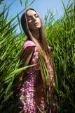 Sinnliche Frau im rosa Kleid im Gras Lizenzfreie Stockfotografie