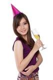 Sinnliche Haltung des Party-Girls, auf Weiß stockfotos