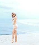 Sinnliche, sexy Dame beschichtete mit dem Schlag silk auf dem Strand Lizenzfreies Stockfoto