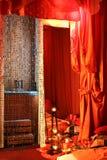 Sinnliche Umgebung des Schlafzimmers Stockfotos