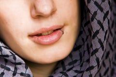 Sinnlicher durchbohrter Mund Stockbild