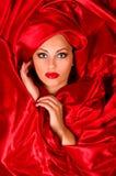 Sinnliches Gesicht im roten Satingewebe Stockfotos