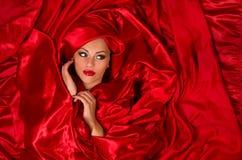Sinnliches Gesicht im roten Satingewebe Stockbild