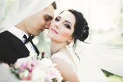 Sinnliches Porträt eines jungen Hochzeitspaares outdoor stockbild
