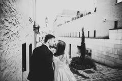 Sinnliches Porträt eines jungen Hochzeitspaares outdoor lizenzfreie stockfotos