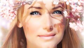 Sinnliches Portrait einer Frühlingsfrau Stockfoto