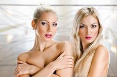 Sinnlichkeitgesichter von zwei schönen jungen Frauen stockfotografie