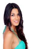 Sinnlig flicka med den gröna bikinin Royaltyfri Bild