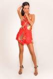 sinnlig klänningmodeflicka Arkivbild