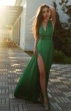 Sinnlig kvinna med mörkt hår som bär den eleganta siden- klänningen Royaltyfria Foton