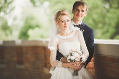 Sinnlig stående av ett ungt brölloppar utomhus- Royaltyfri Bild