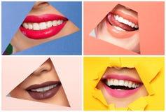 Sinnliga kvinnor med olika färgläppstift, closeup arkivfoton