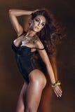 Sinnligt posera för brunettkvinna Royaltyfria Bilder