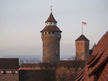 Sinnwell tower. View of the Sinnwell tower from the Luginsland tower at sunrise. Nuremberg, Bavaria, Germany Royalty Free Stock Photo