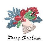 SINO ALEGRE ajustado da ilustração do vetor da cor do Natal ilustração royalty free