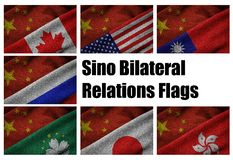 Sino Bilateral Relations Flags of Major Countries. Series of 3D grunge flags of major Sino bilateral relations between China and Canada; China and USA; China and Royalty Free Stock Photo