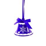 Sino de tinir azul do Natal isolado no ano novo do fundo branco Fotografia de Stock