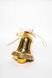 Sino dourado do ornamento do Natal fotografia de stock