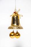 Sino dourado do ornamento do Natal imagem de stock royalty free