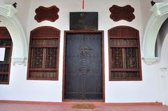 Sino-Portugese door. Door to a traditional Sino-Portugese building in Phuket town, Thailand royalty free stock photo
