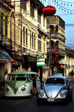 Sino-Portuguese architecture of ancient building with classic car, Phuket town , Thailand.  Royalty Free Stock Images