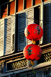 Sino-Portuguese architecture of ancient building with Red Chines Royalty Free Stock Photography