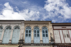 Sino-Portuguese Architecture influenced building in Phuket. Stock Image