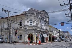 Sino-portuguese building in Phuket Old Town. This building is located at the intersection of Dibuk Road and Yaowarat Road in Phuket Old Town, Thailand stock photography