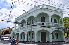 Sino-portuguese building in Phuket Old Town. This building is located at the intersection of Dibuk Road and Yaowarat Road in Phuket Old Town, Thailand stock photo