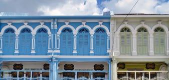 Sino-portuguese facades in Phuket Town. Multi colored sino-portuguese facades in Phuket Old Town, Thailand royalty free stock photo