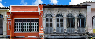 Sino-portuguese facades in Phuket Town. Multi colored sino-portuguese facades in Phuket Old Town, Thailand royalty free stock images