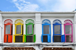 Sino-portuguese facades in Phuket Town. Multi colored sino-portuguese facades in Phuket Old Town, Thailand stock photo