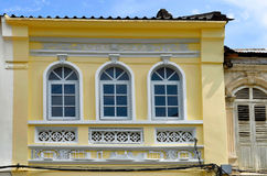 Sino-portuguese facades in Phuket Town. Multi colored sino-portuguese facades in Phuket Old Town, Thailand royalty free stock photography